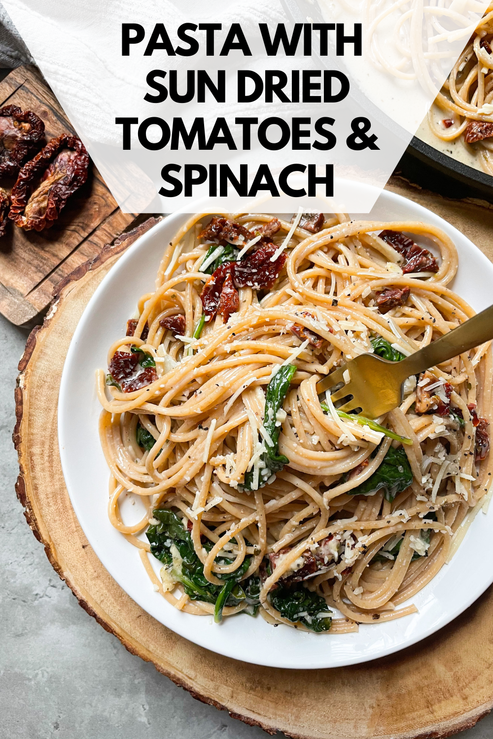 plate with whole wheat spaghetti with text overlay