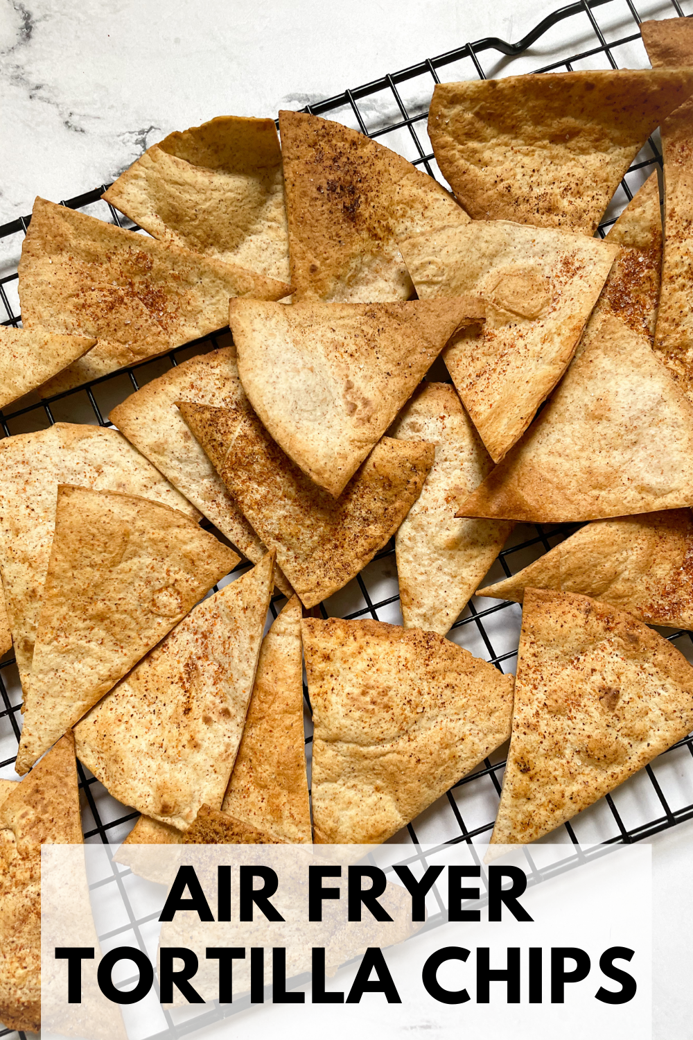 homemade tortilla chips on cooling rack with text overlay