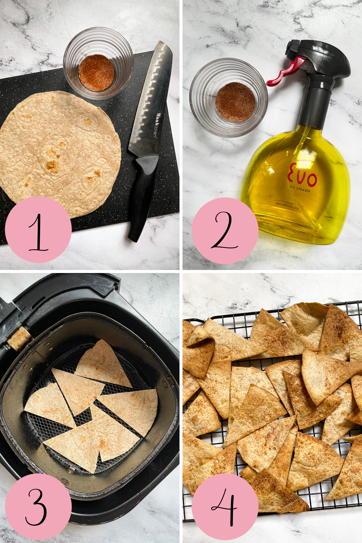 4 step process how to make air fryer tortilla chips