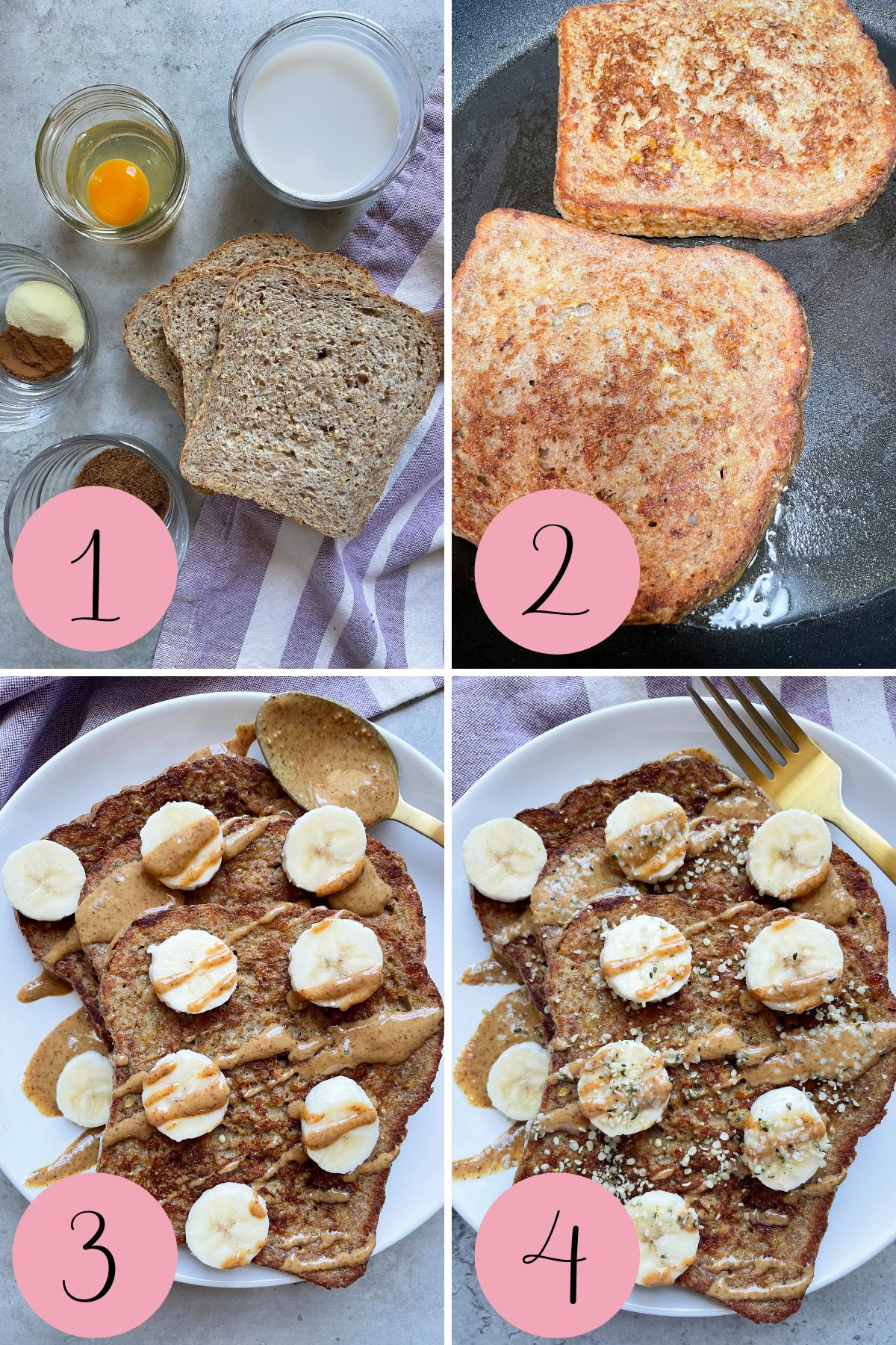 4 step process how to make healthy french toast