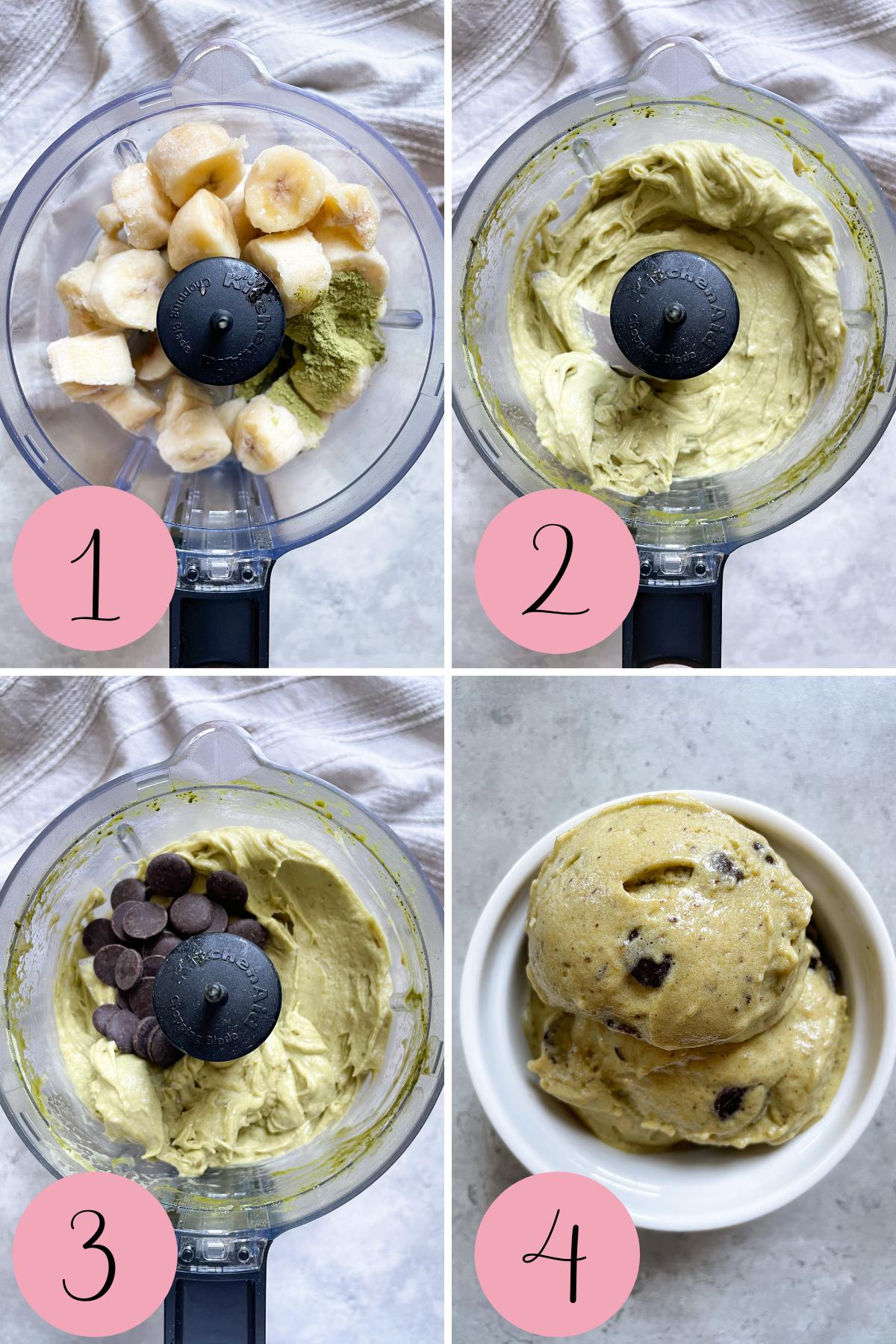 4 step process how to make banana ice cream