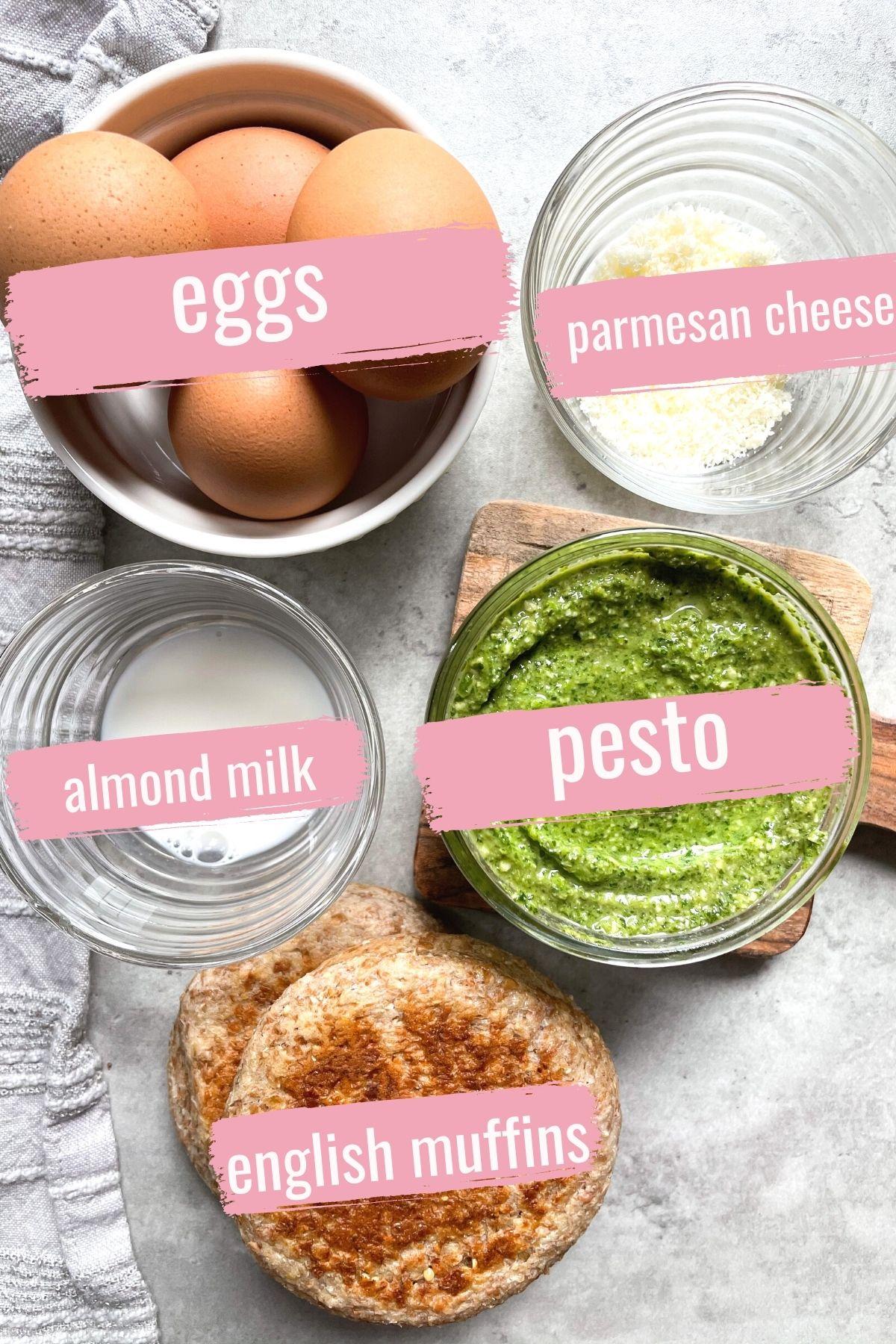 ingredients in bowls for breakfast sandwich