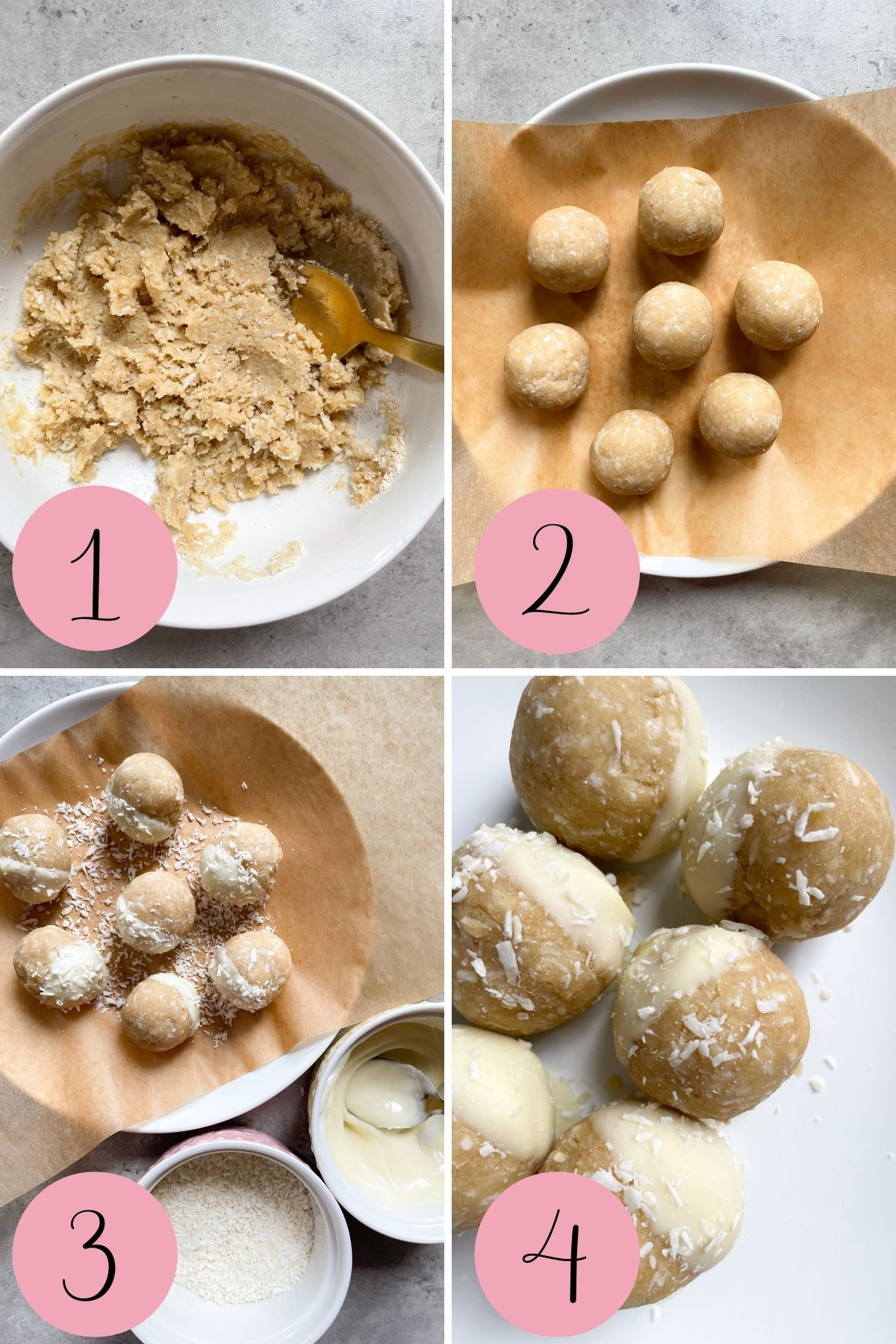 4 step process how to make energy bites