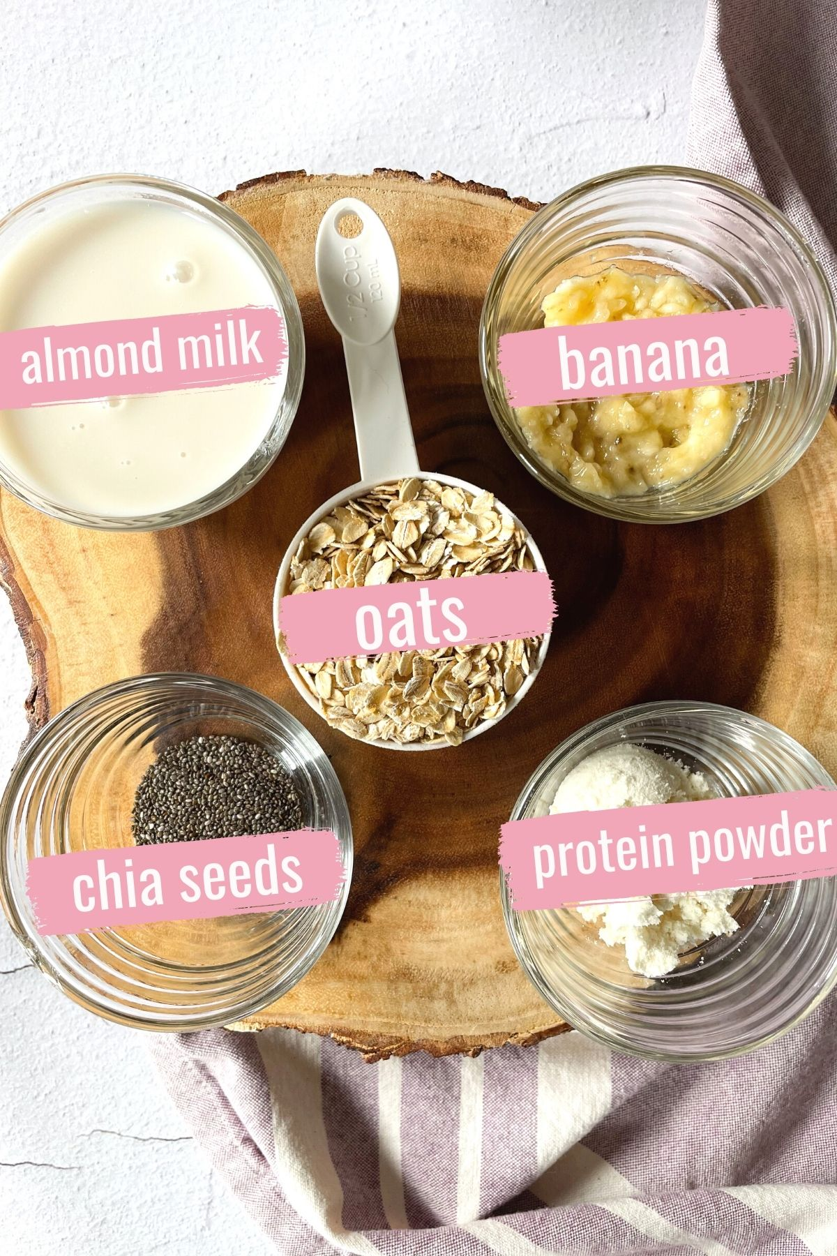 ingredients in containers for high protein overnight oats