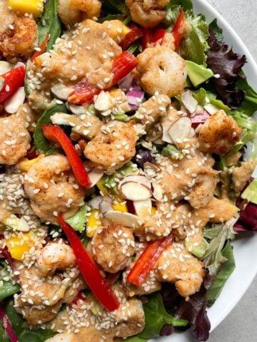 plate with Mango Avocado Shrimp Salad