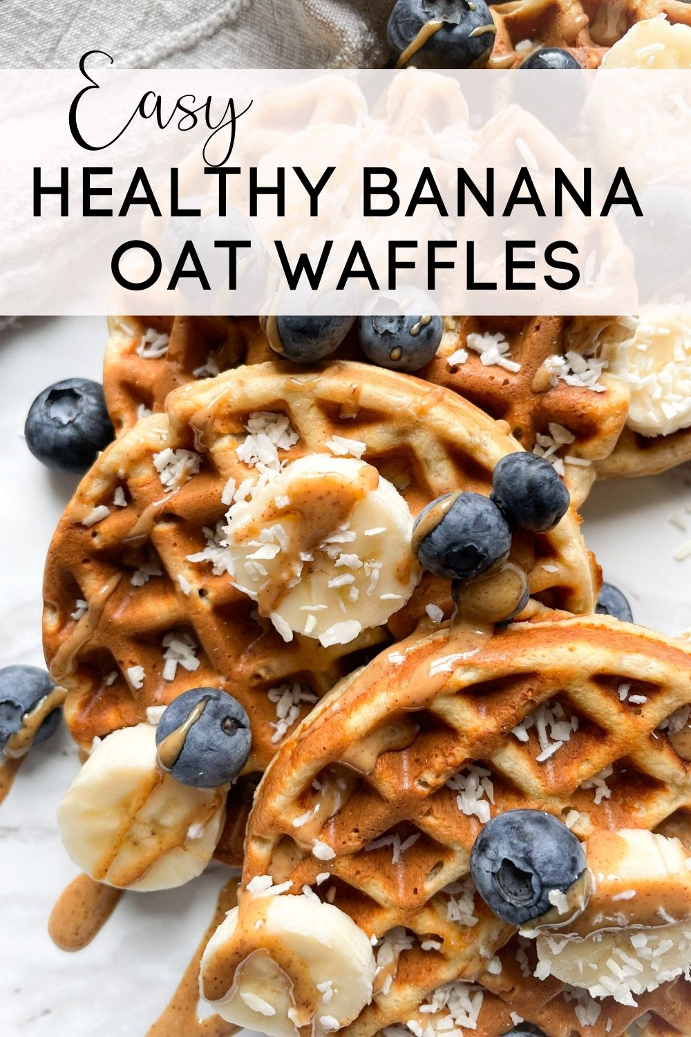 waffles on marble background with text overlay