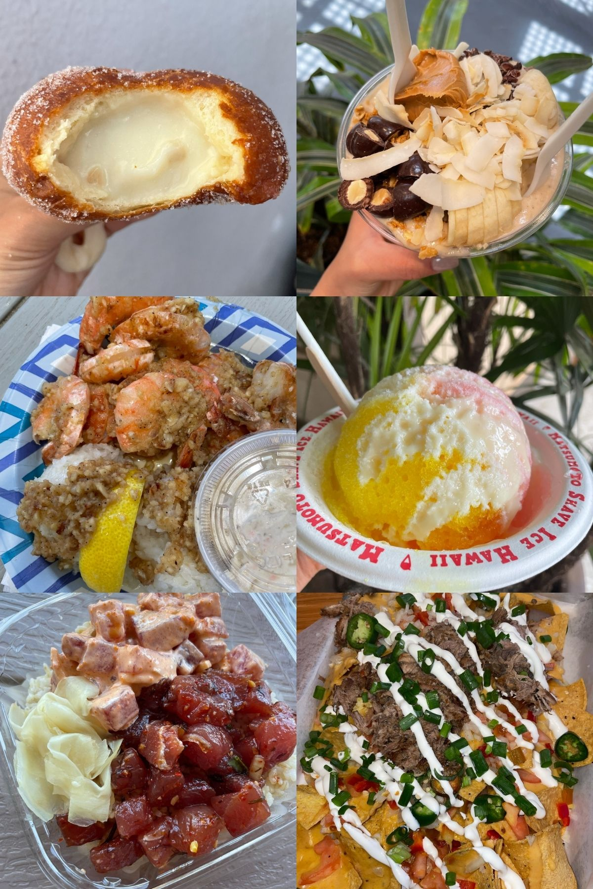 photo collage of food in hawaii