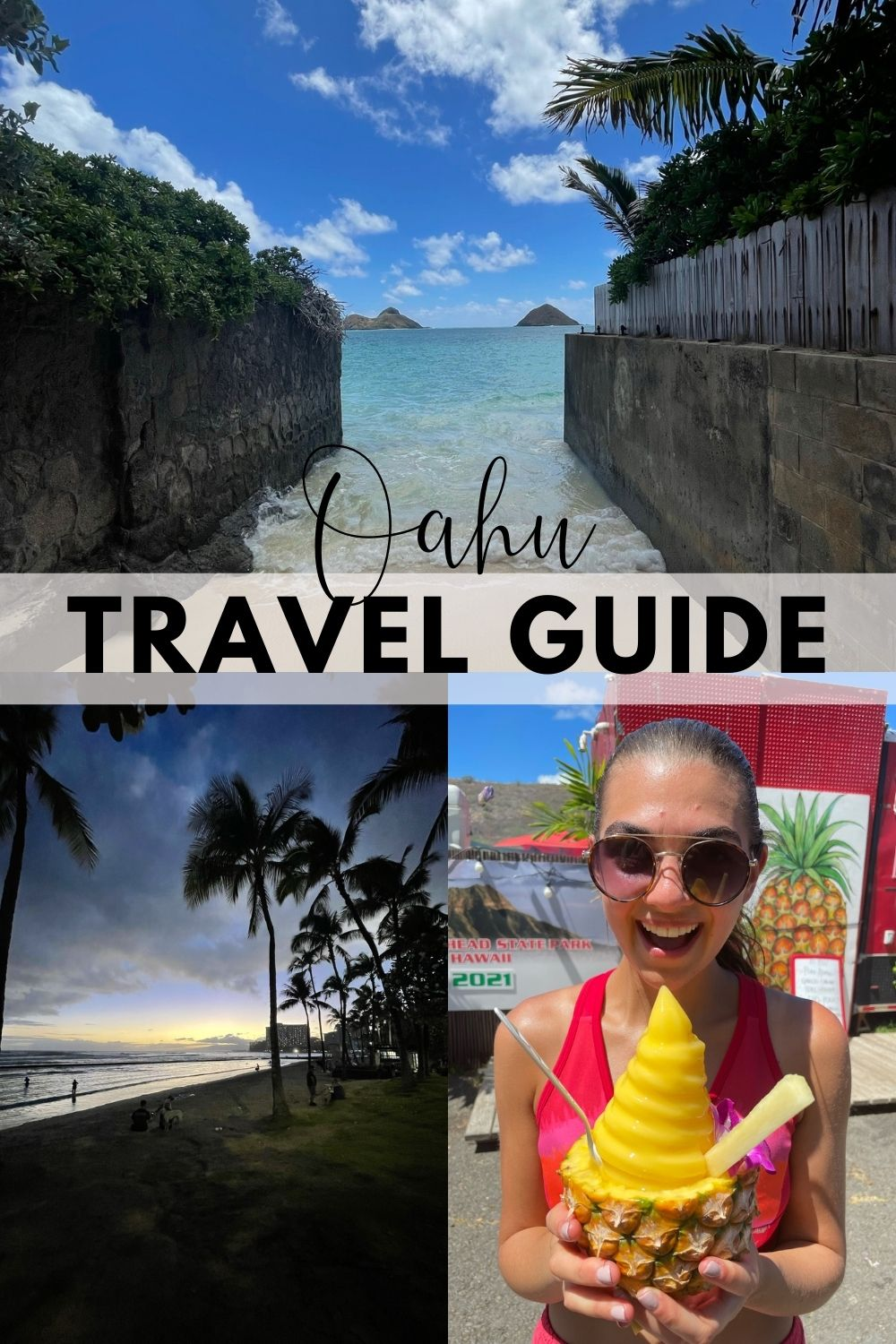 3 photo collage Oahu Travel Guide
