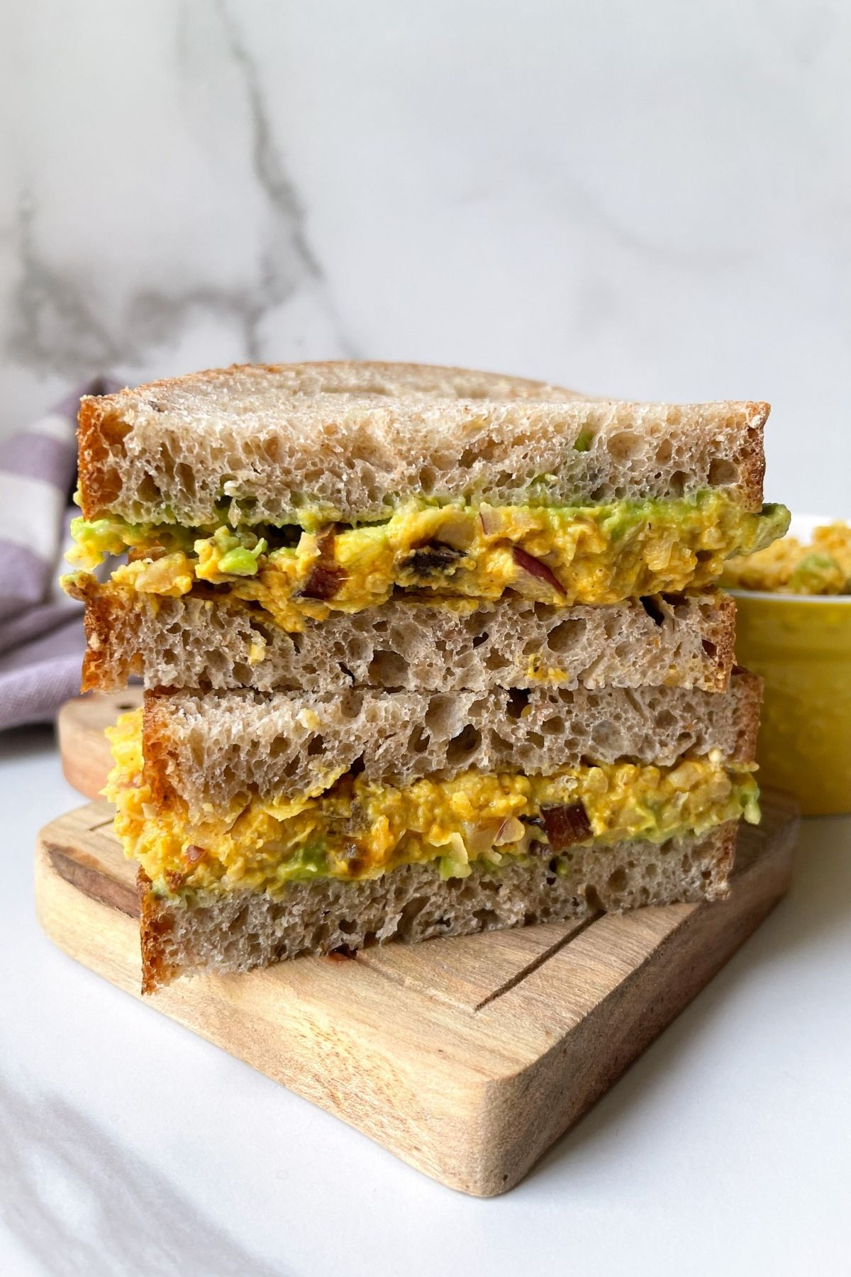 stacked chickpea salad sandwich