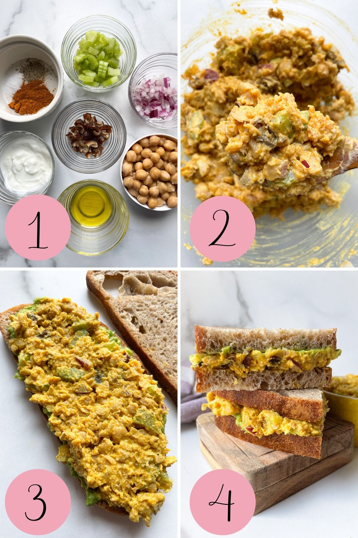 how to make curried chickpea salad sandwich