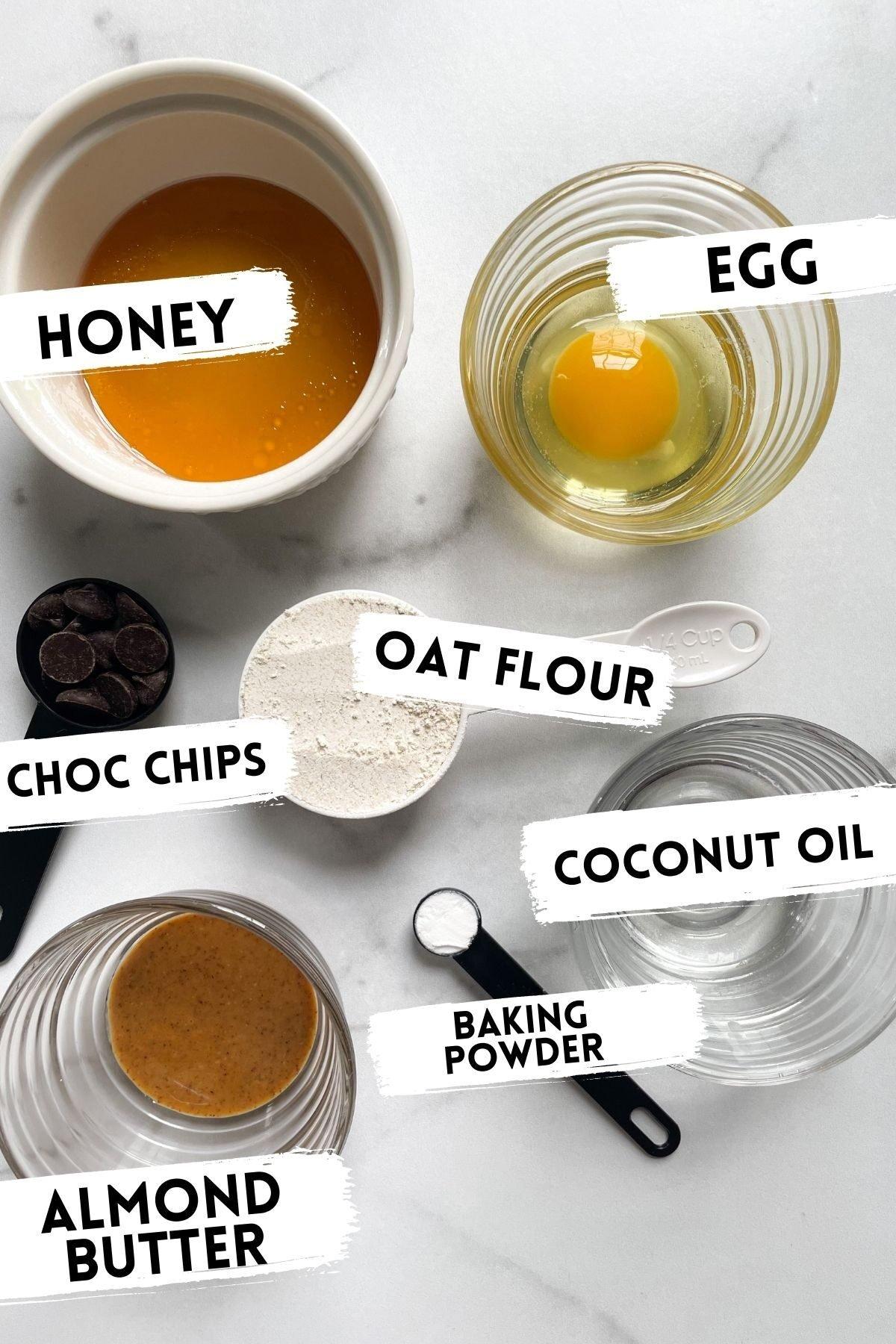 ingredients in healthy honey mug cake