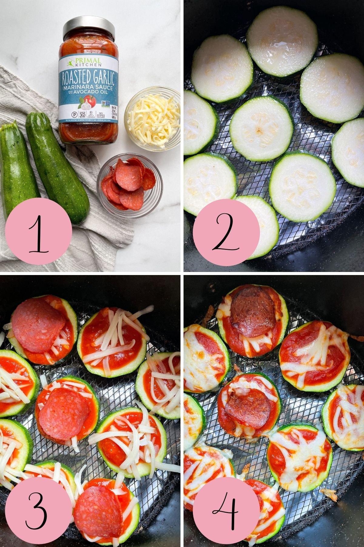 4 step process how to make zucchini pizza bites