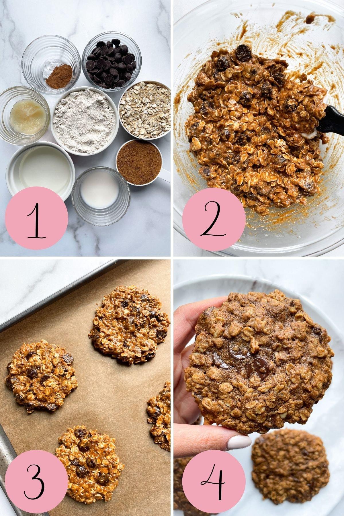 4 step how to make Vegan Oatmeal Chocolate Chip Cookies