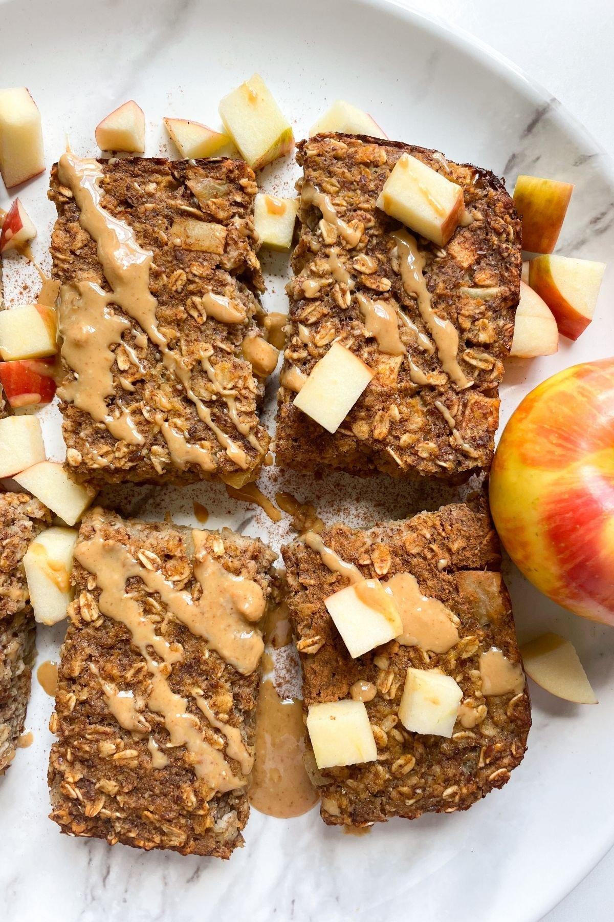 Apple Cinnamon Baked Oatmeal Bars on plate