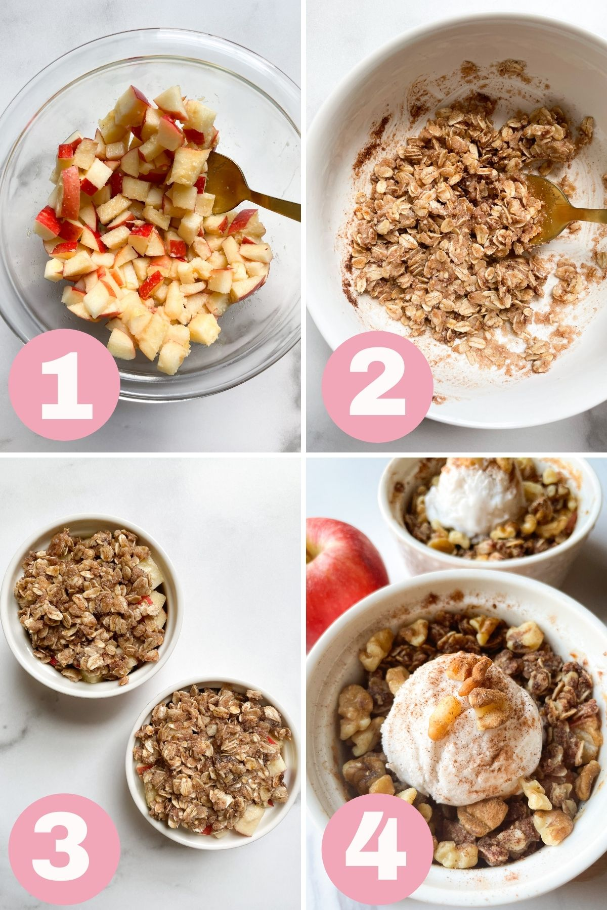 4 step process how to make apple crisp