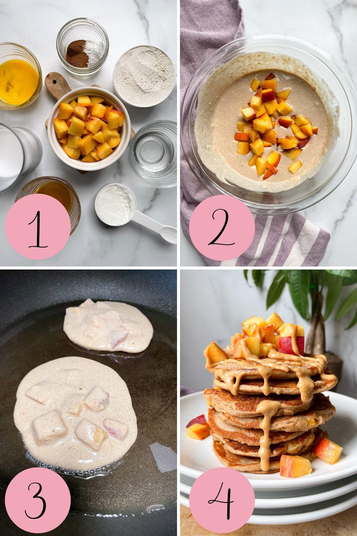 how to make healthy peach pancakes