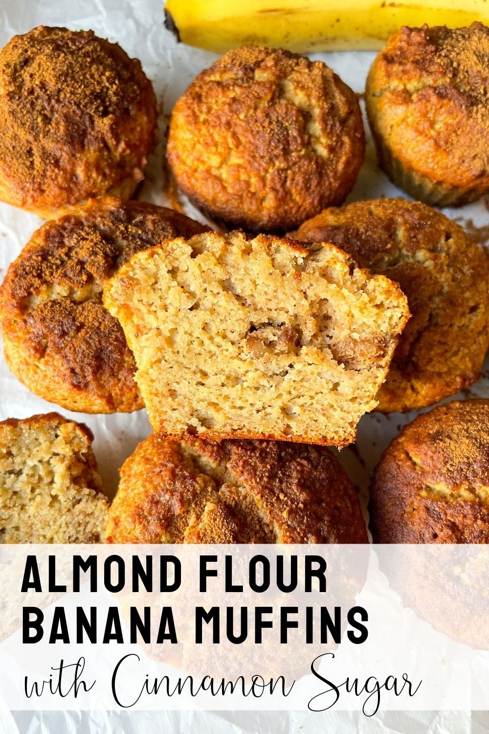 sliced almond flour banana muffins with text overlay