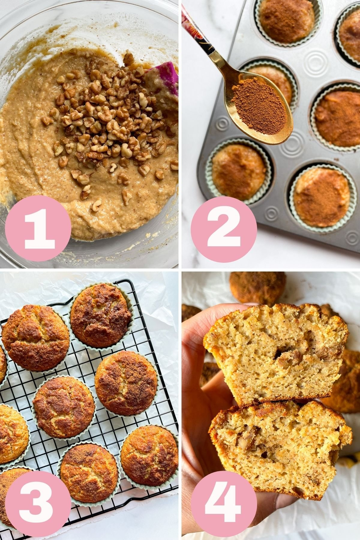 how to make almond flour banana nut muffins step by step