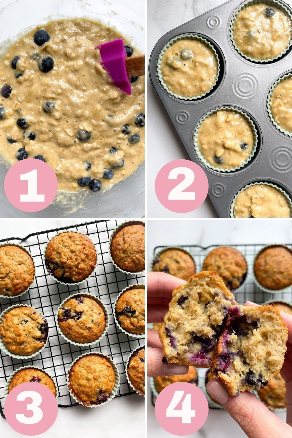 4 step how to make banana blueberry oat muffins