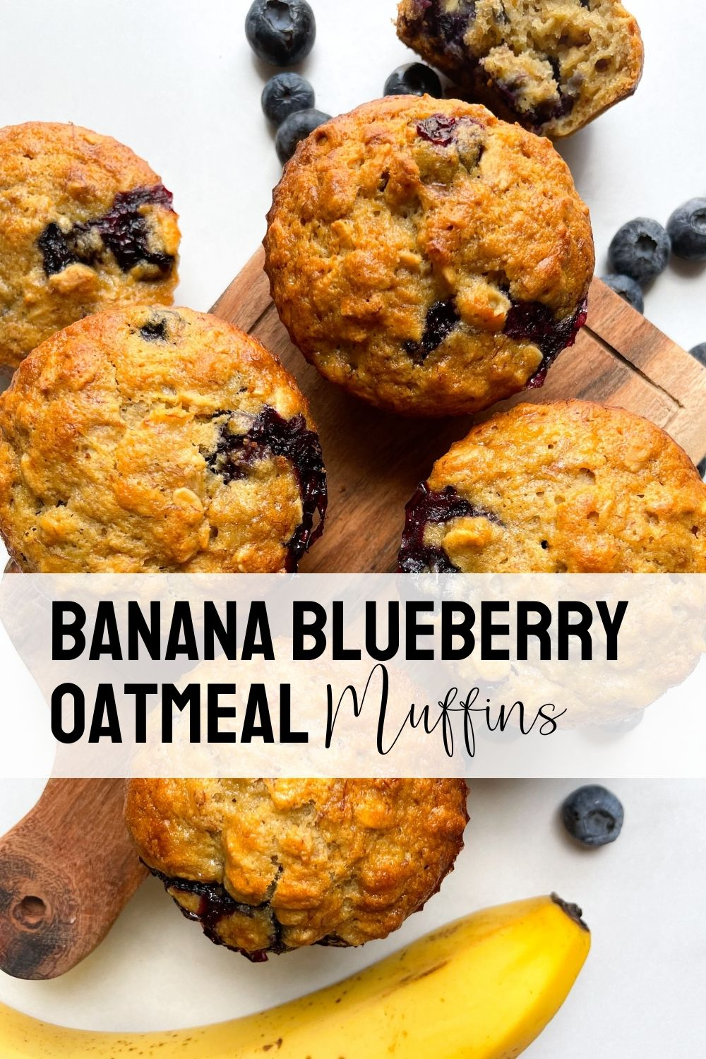 muffins on wooden board with blueberries and banana with text overlay