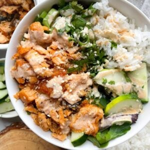 cooked salmon poke bowl
