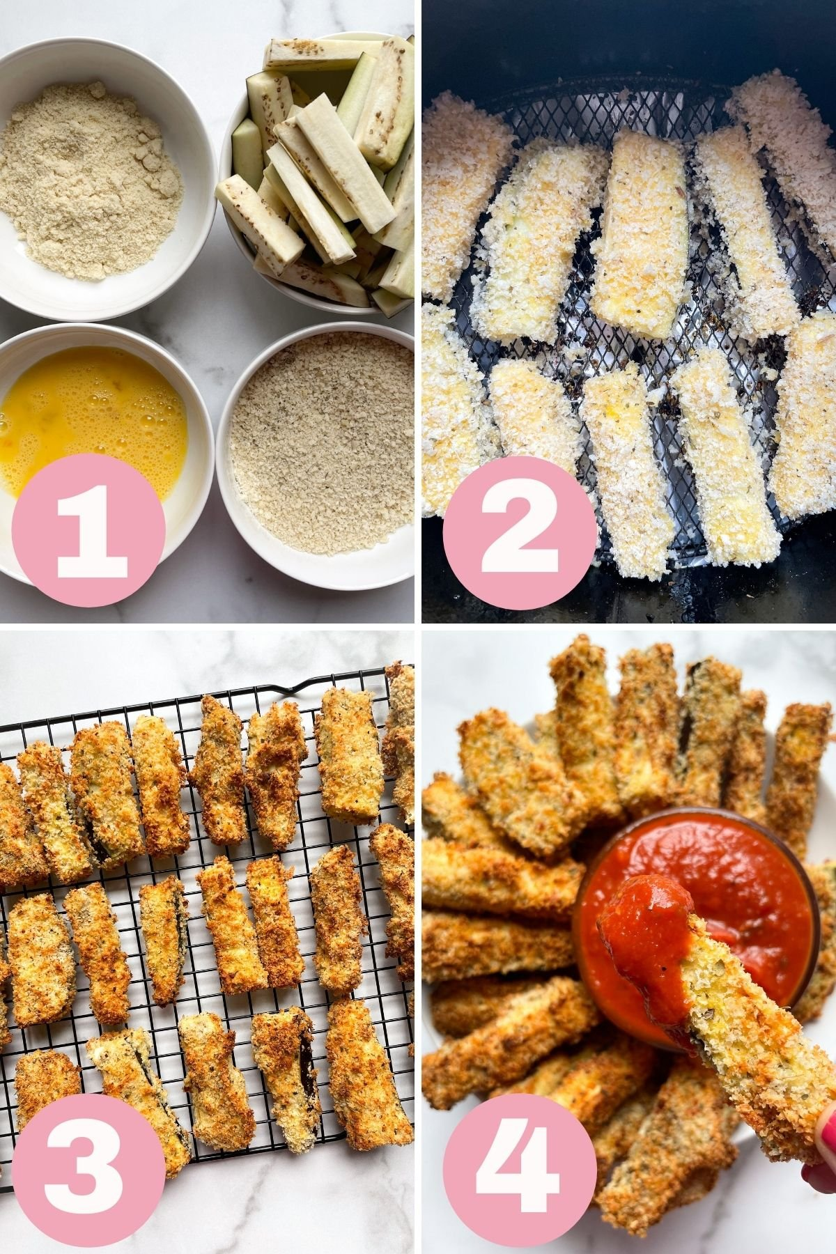 4 step photo collage how to make eggplant fries in the air fryer