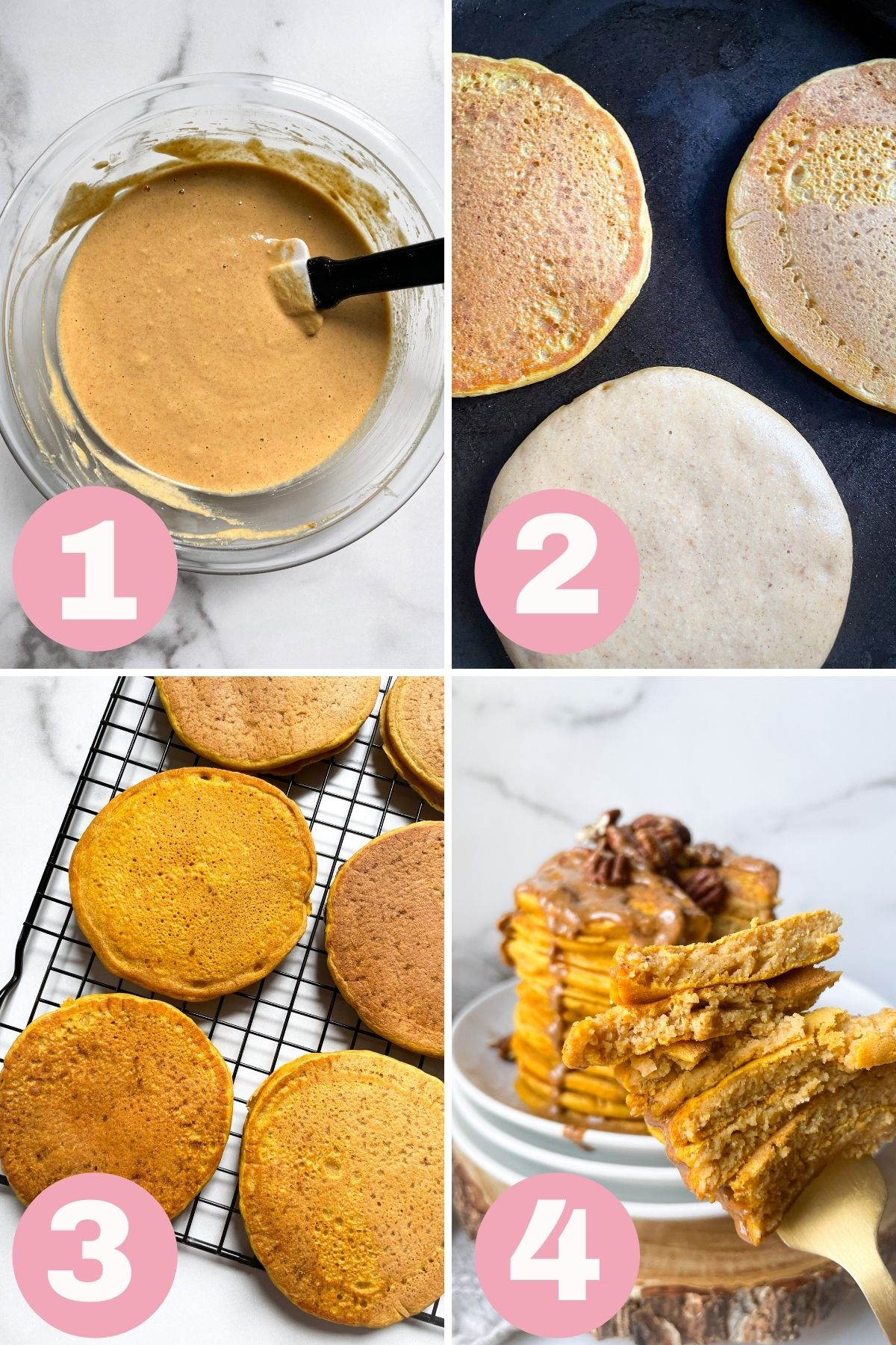 1-4 step process photo collage how to make gluten free pumpkin pancakes