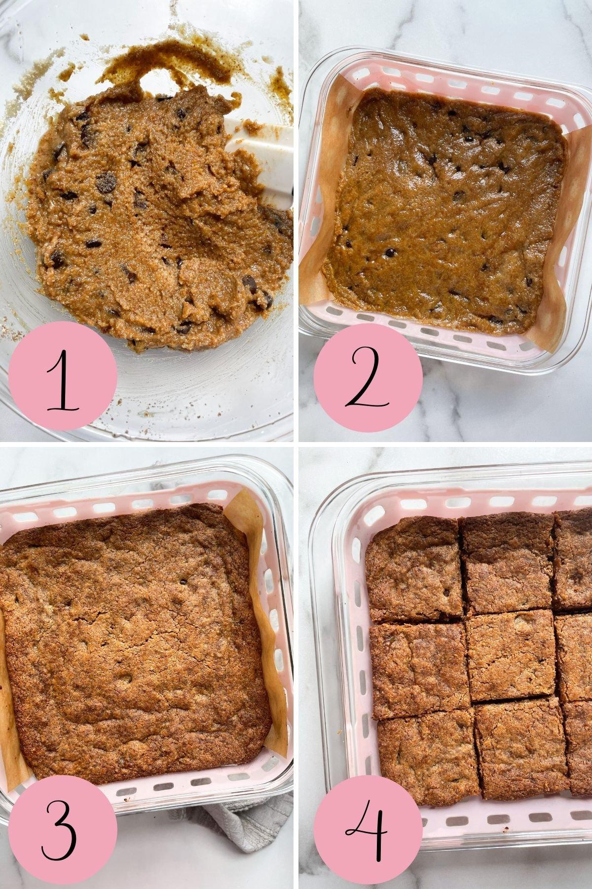 4 step process how to make tahini blondies