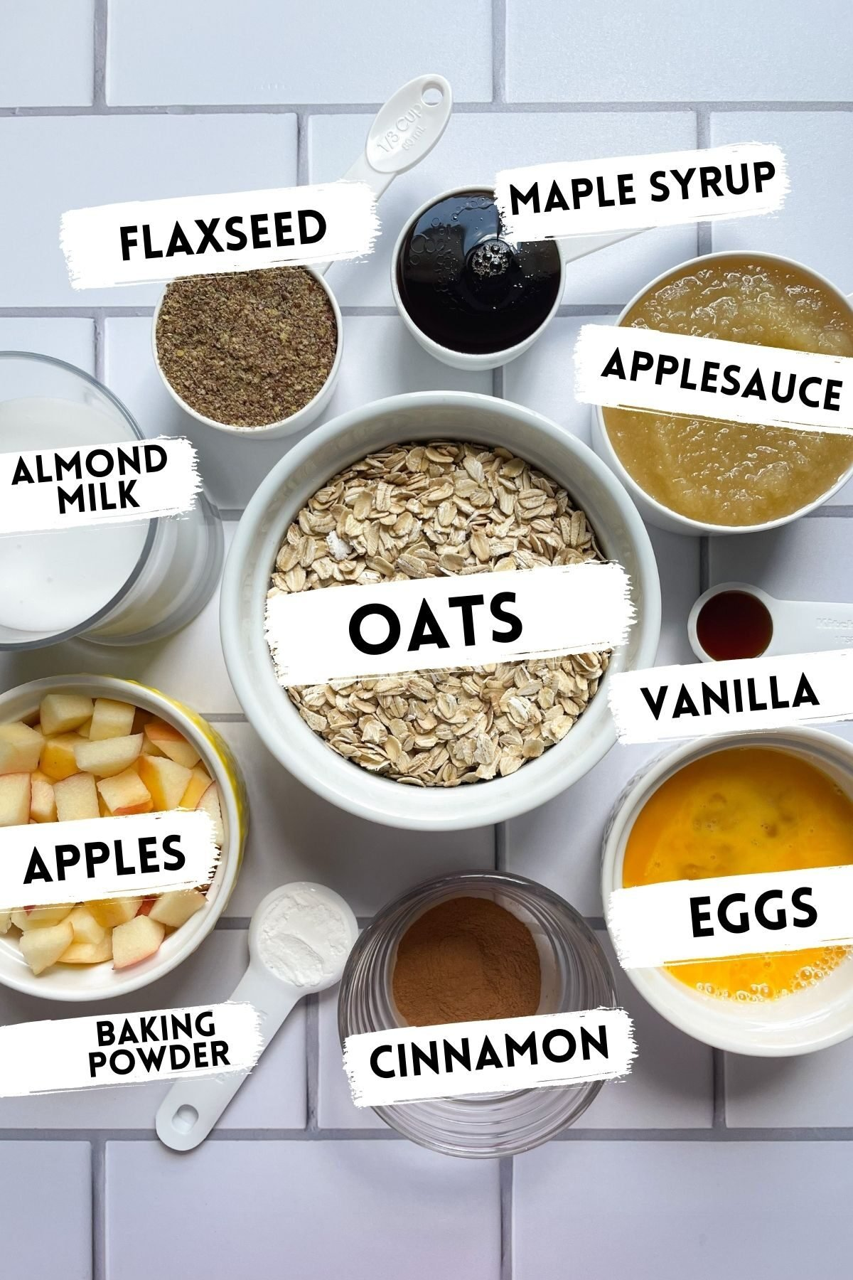 ingredients for baked oatmeal bars with applesauce