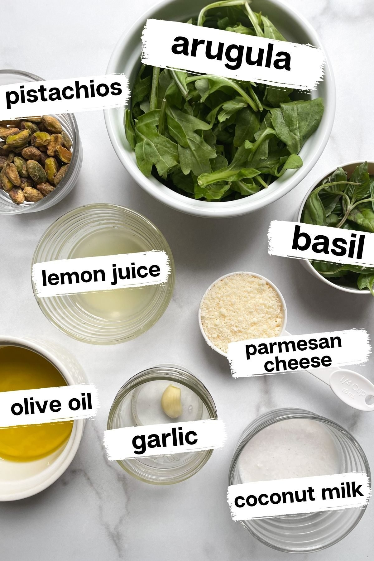 ingredients for Arugula Basil Pesto Without Pine Nuts