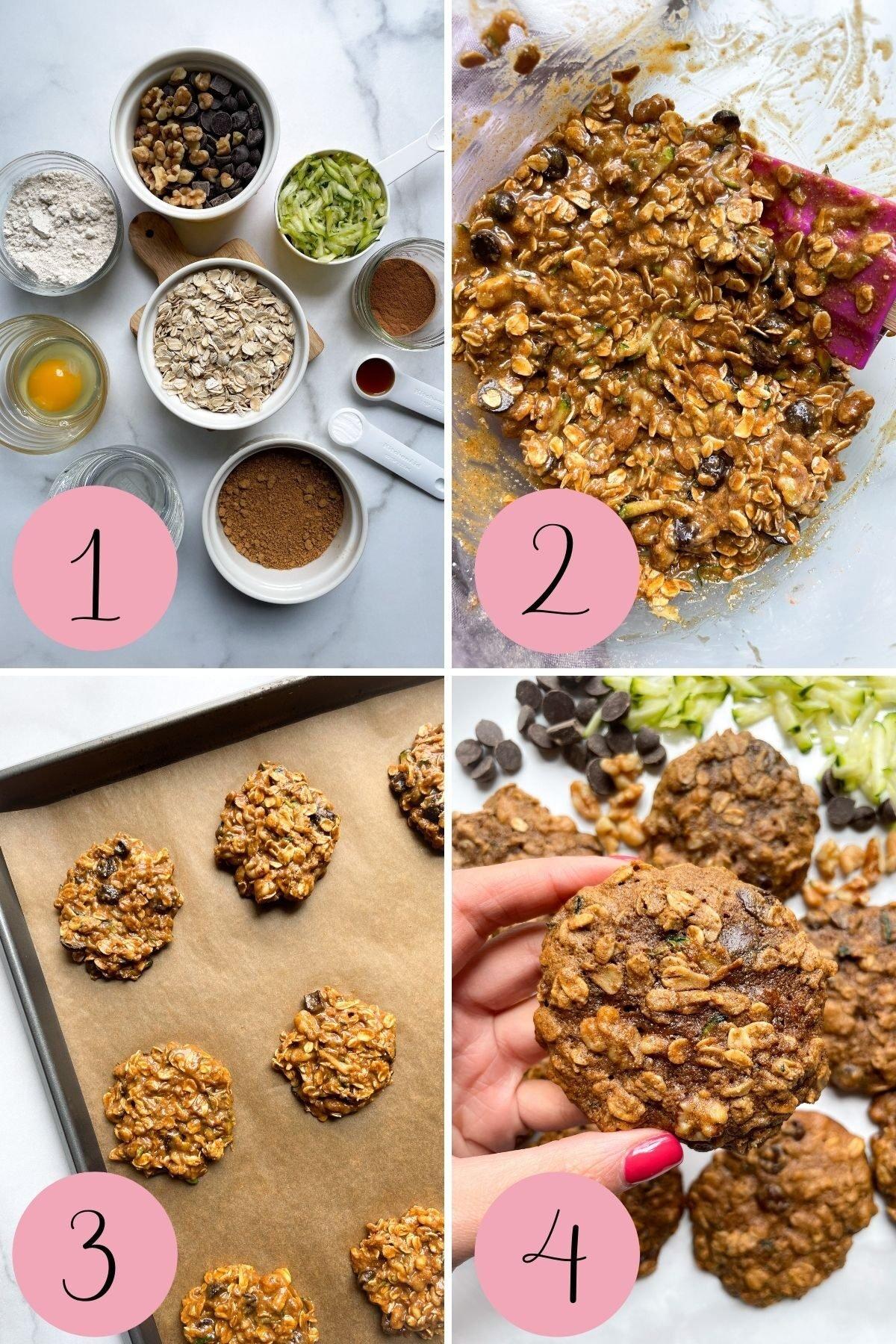 4 step how to make Zucchini Bread Breakfast Cookies