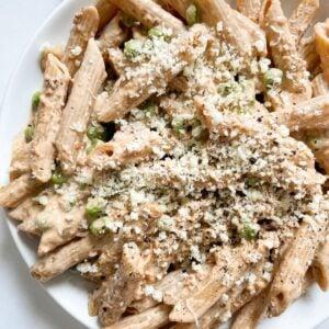 tahini pasta on white plate