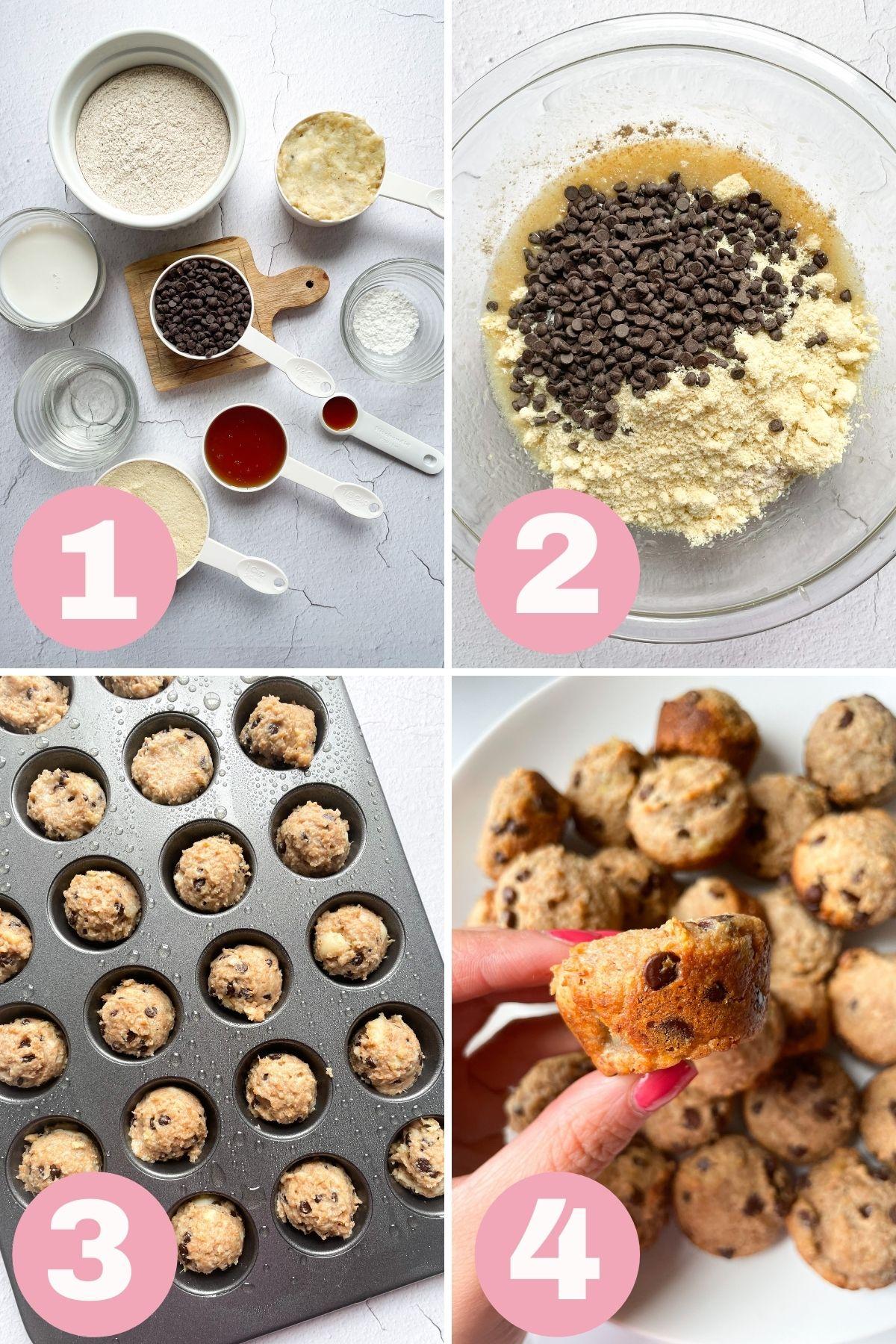 4 step process how to make mini banana muffins