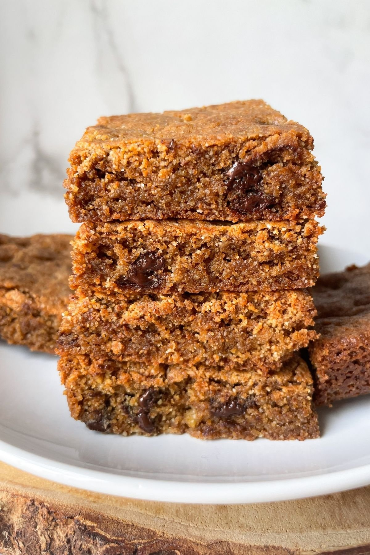 stacked paleo blondies on plate