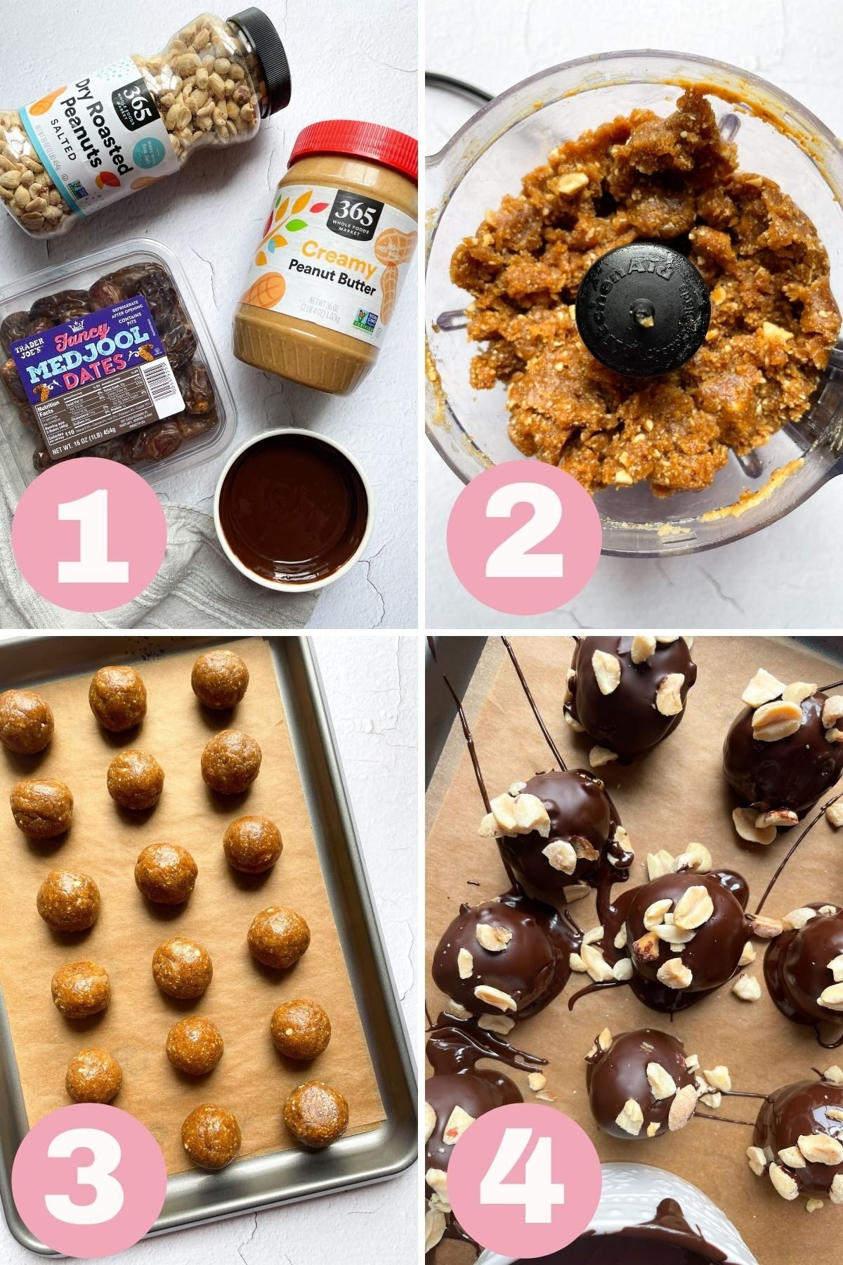 4 steps how to make vegan snickers bliss balls