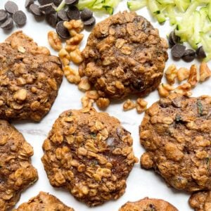 zucchini cookies on marble plate