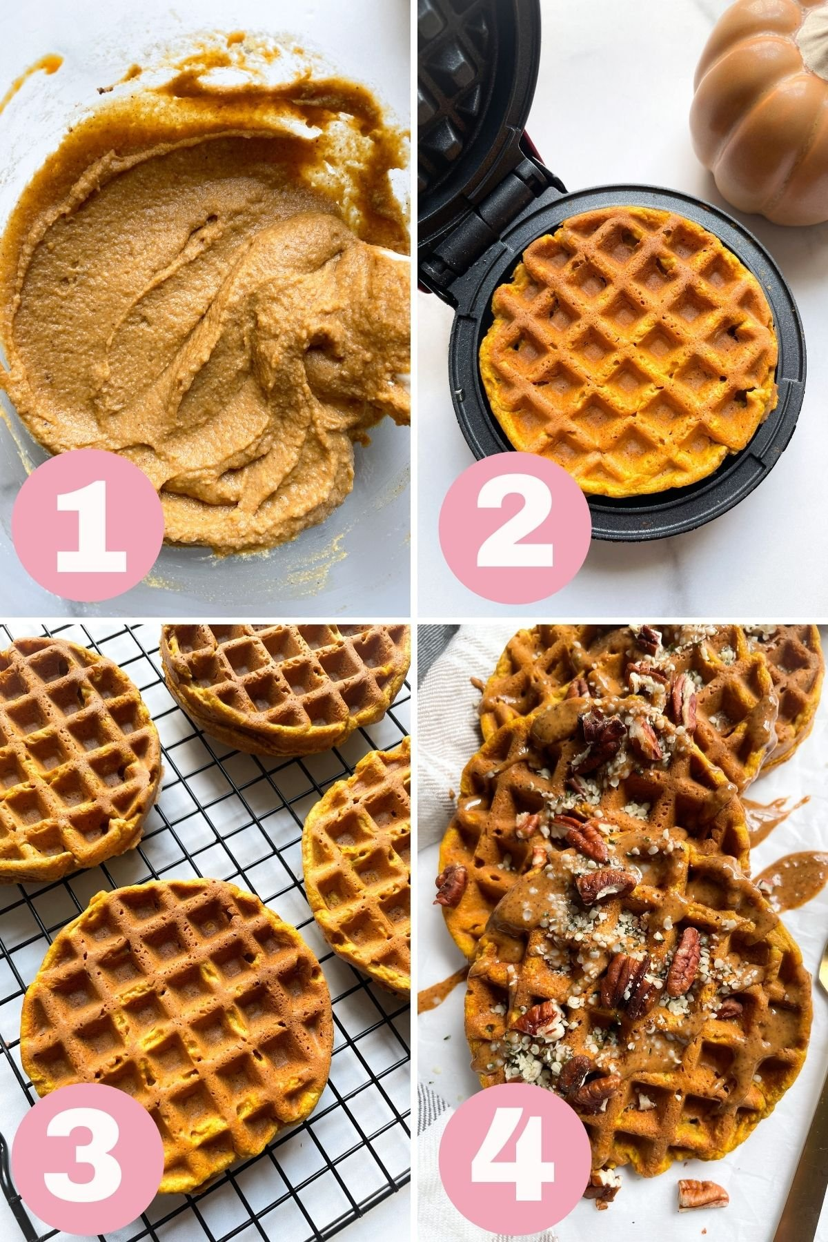 each step how to make healthy pumpkin waffles