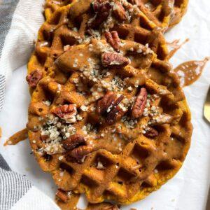 close up of healthy pumpkin waffles