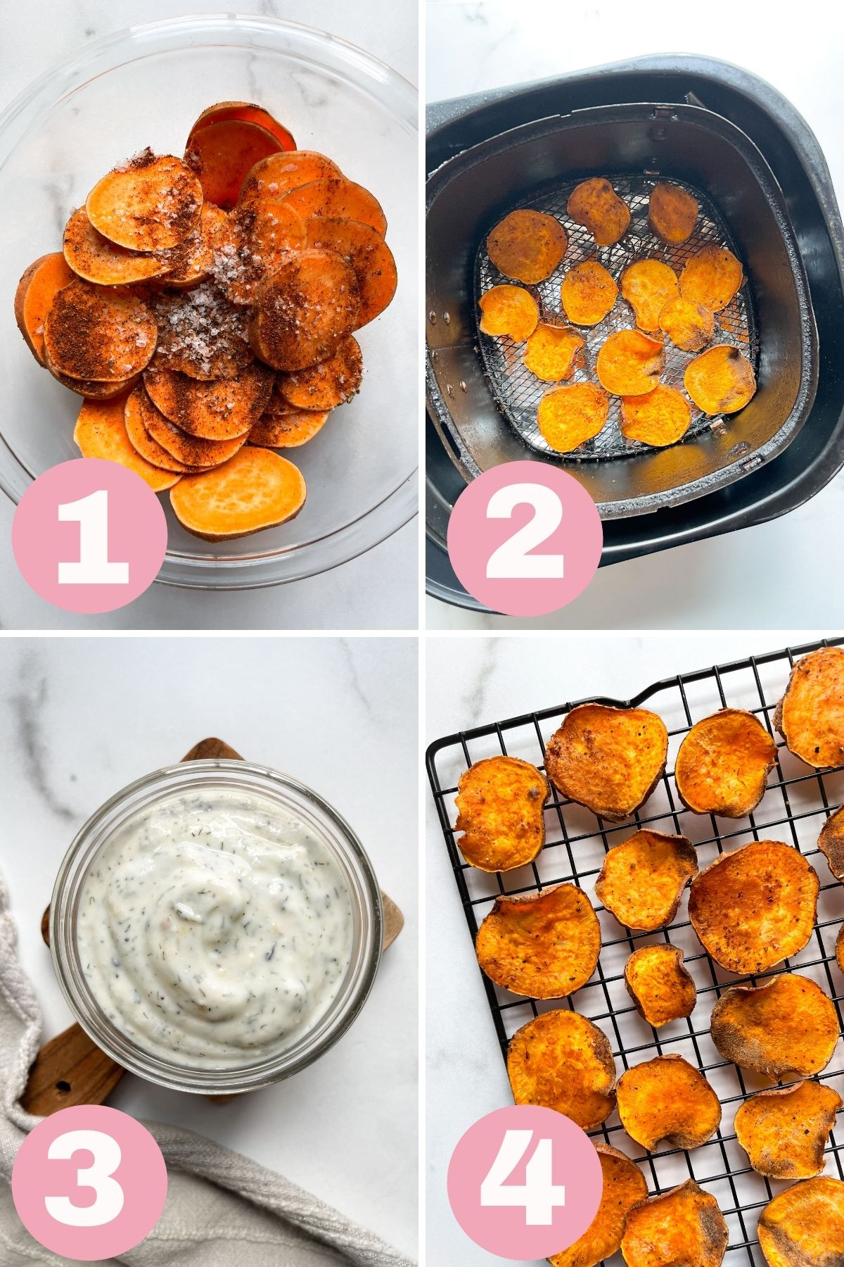 4 step process how to make air fryer sweet potato chips
