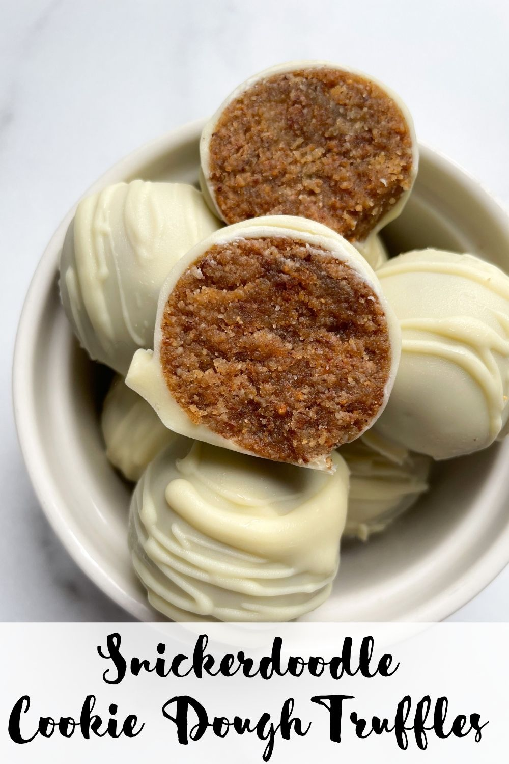snickerdoodle cookie dough truffles in a white bowl with text overlay