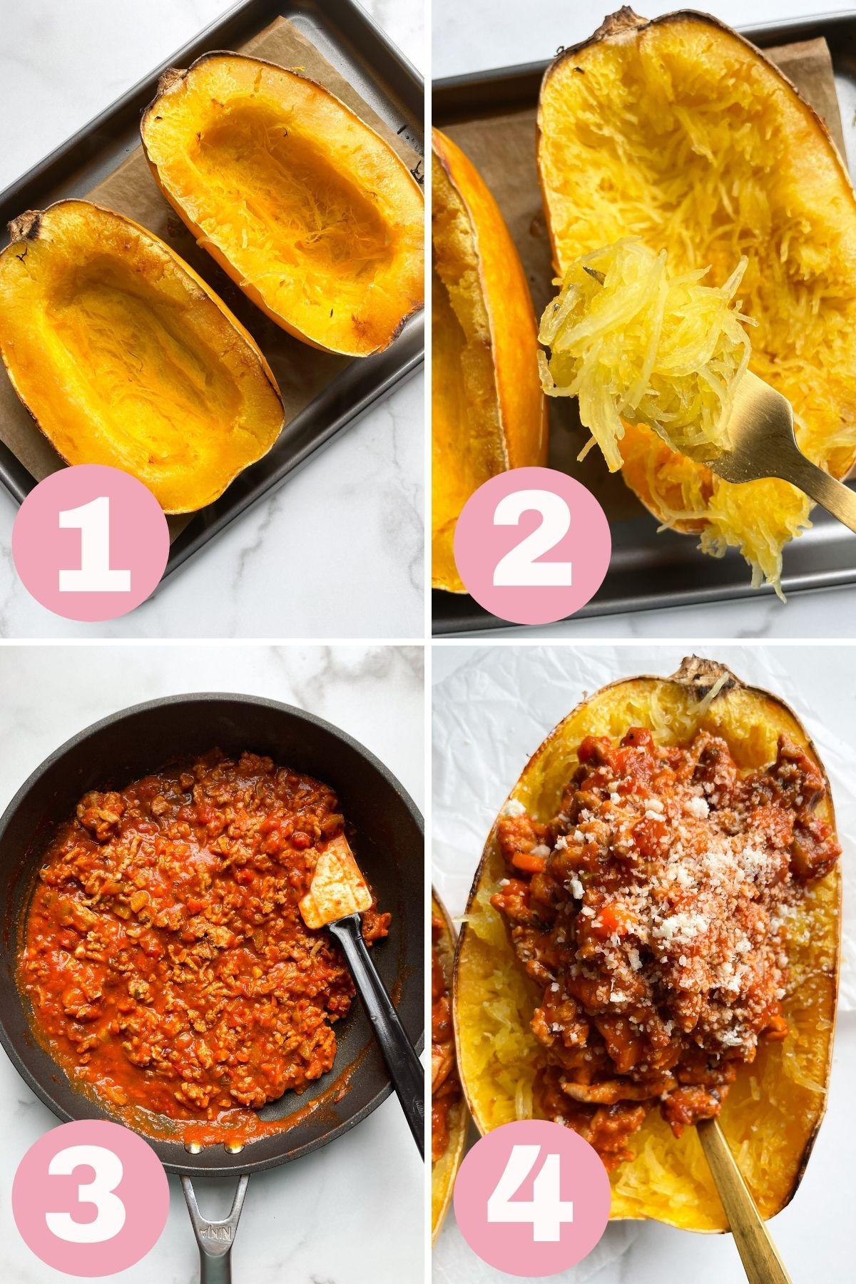 photo collage how to make Spaghetti Squash Turkey Bolognese