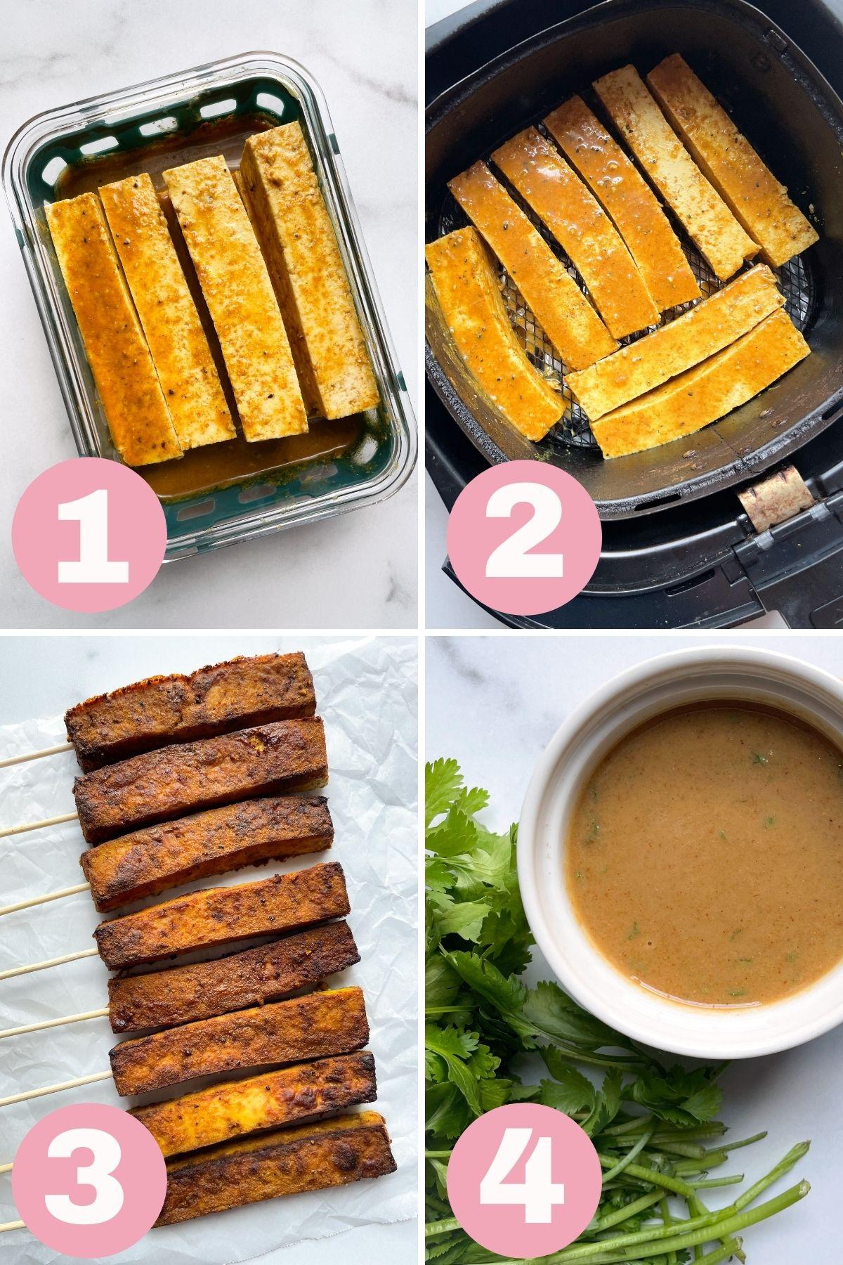 4 step photo how to make air fryer tofu satay