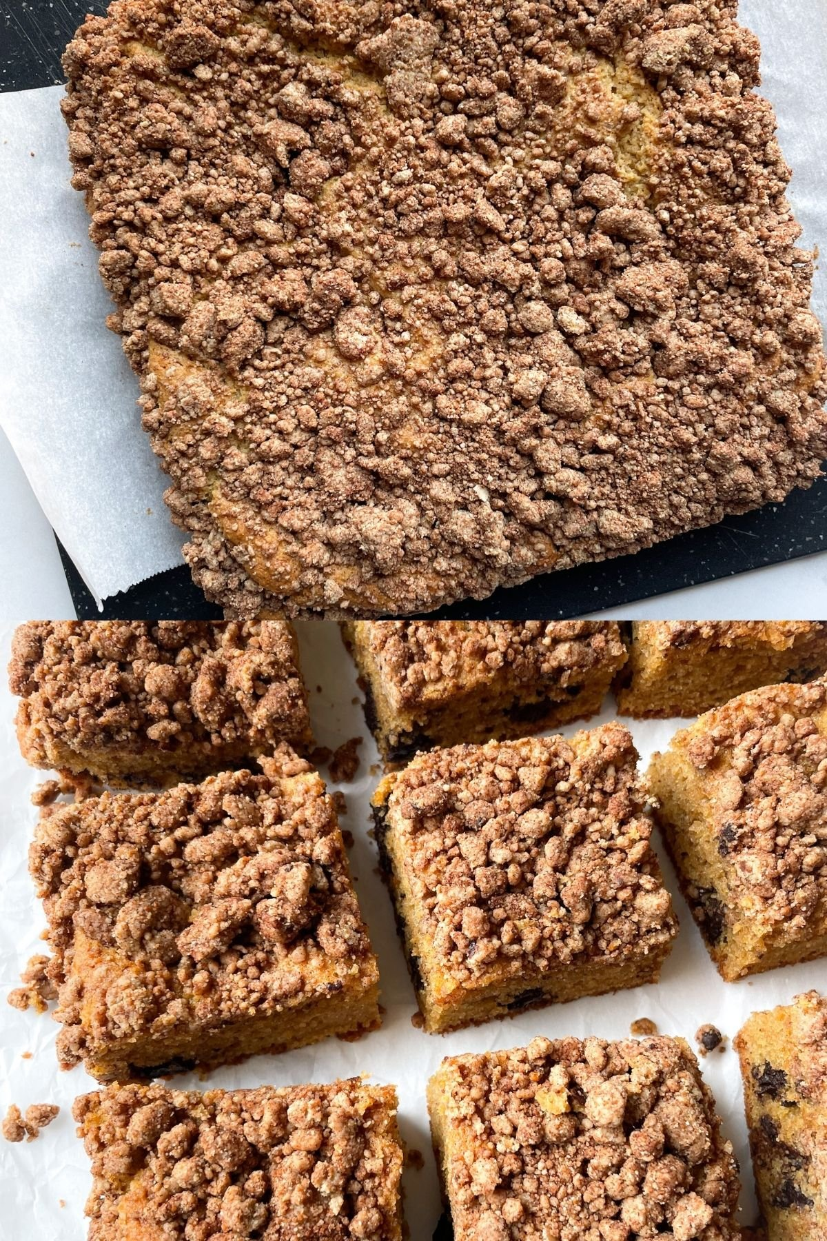 photo of coffee cake before sliced and one photo after it has been sliced