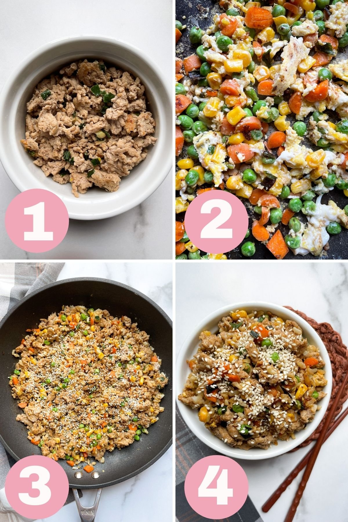 4 step collage how to make turkey fried rice