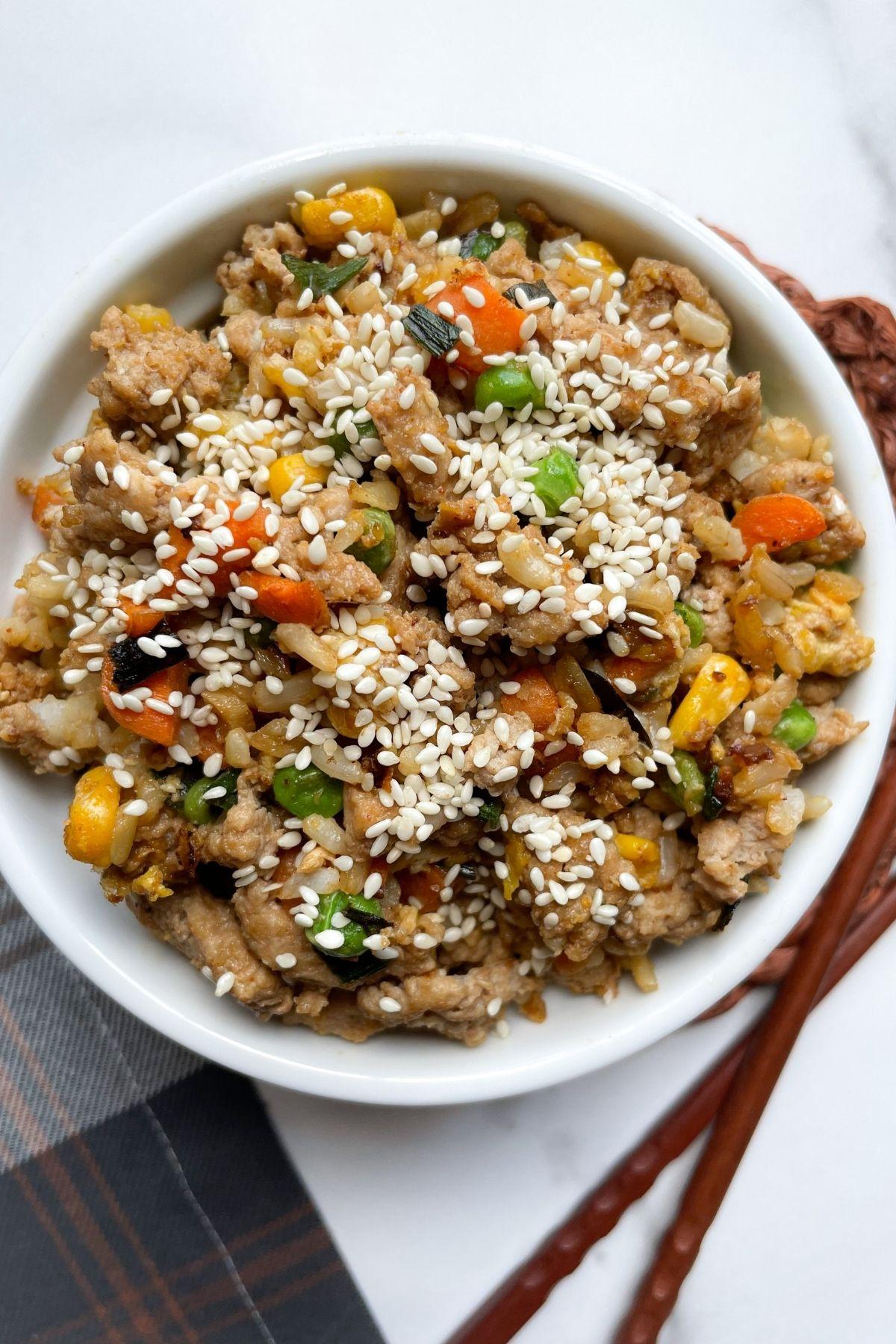 turkey fried rice in bowl