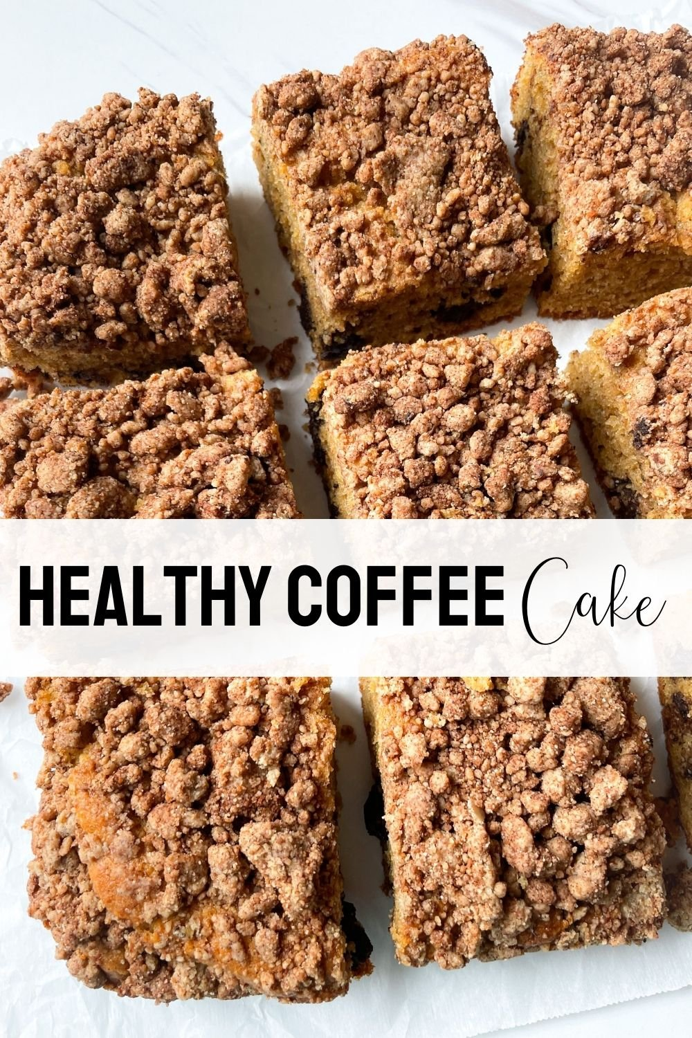 sliced coffee cake with text overlay