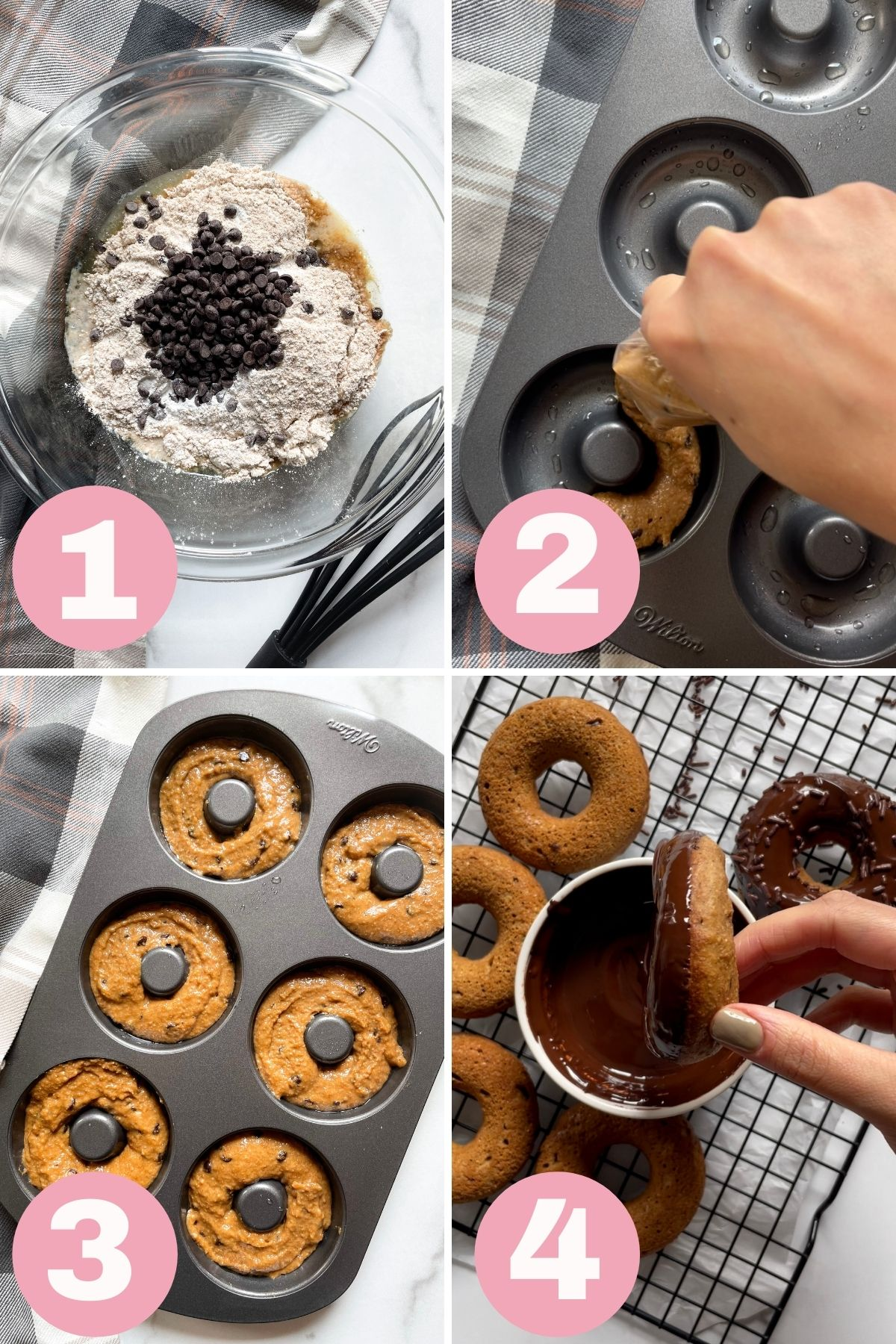 4 step process how to make baked donuts