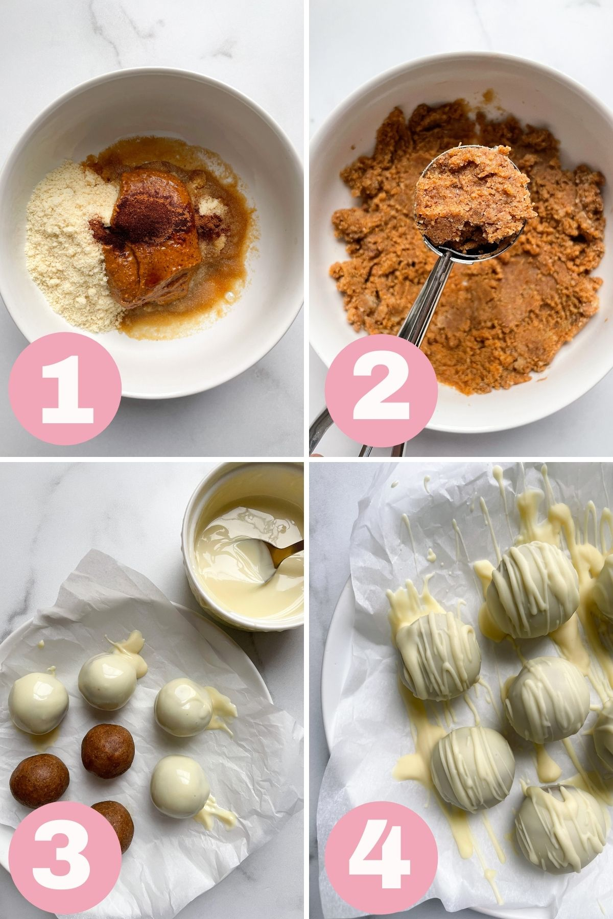 4 steps how to make snickerdoodle cookie dough truffles