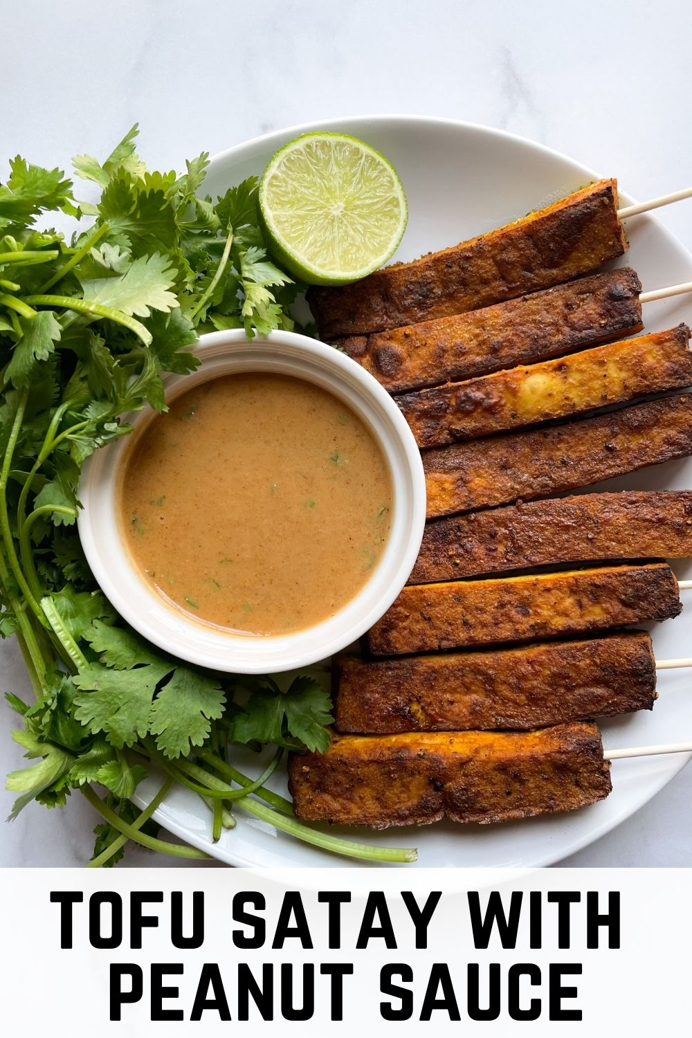 plate with tofu satay with text overlay