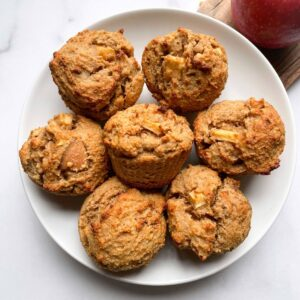 Healthy Peanut Butter Apple Muffins on plate